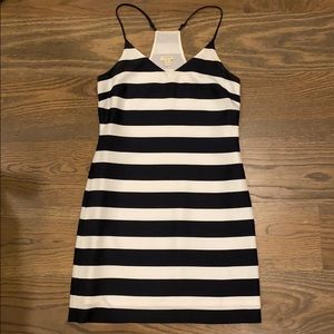 J. Crew navy and white mini slip dress